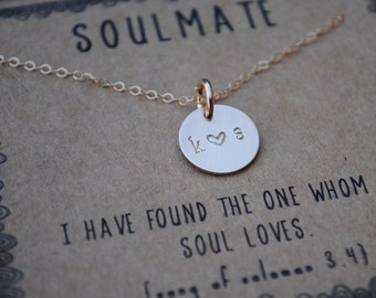 soulmate .  Personalized initial couple necklace .  tiny gold filled initial layering necklace  .  girlfriend gift  .  wife gift