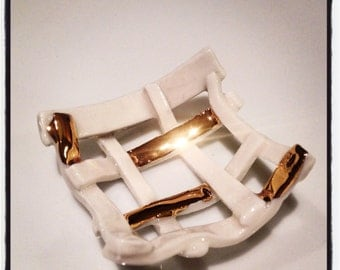 Woven gold and white  porcelain vessel sculpture