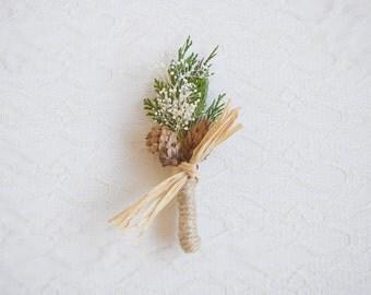 Wedding Boutonniere, groomsmen button hole, winter weddings, woodland rustic boutonniere, dried flower keepsake - WOODLAND - (1x buttonhole)