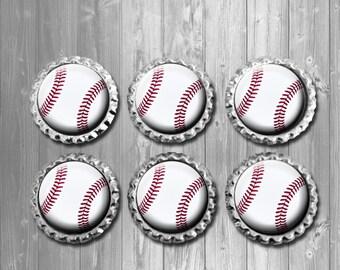 Baseball Bottle Cap Magnets - Set of 6