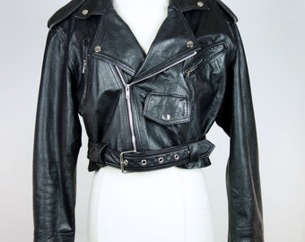 80s black leather cropped motorcycle jacket, Wilsons rocker moto biker jacket, Medium