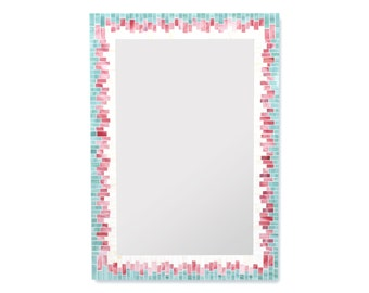 Gradient Decorative Mosaic Wall Mirror in Beige, Coral, and Sea Green Stained Glass - 4 Sizes Available