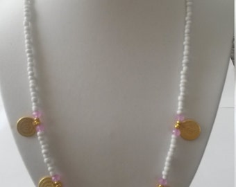 Bohémien necklace,  Ibiza necklace,  with with lila necklace with coin charms