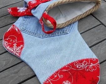 Charming Country Christmas Denim Stocking, CR#0105