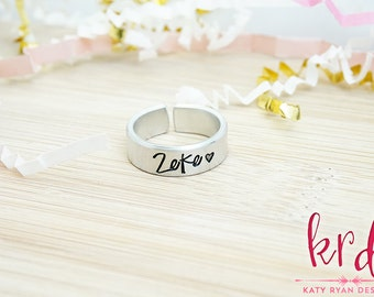 Personalized Cuff Ring - Custom Ring - Adjustable Ring - Personalized Jewelry - Silver Tone Hand Stamped Adjustable Cuff Ring