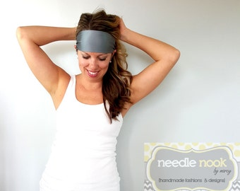 The Gray Yoga Headband - Spandex Headband - Boho Wide Headband