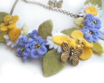 Felt Flower Necklace, Forget Me Not, Yellow Buttercup, Daisy, Butterfly Charm Accessory, Spring Flowers Jewellery, Handmade Felt Necklace