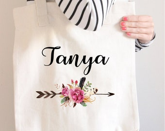 Bridesmaid Tote Bag, Bridesmaid Gift, Arrow Tote, Personalized tote, Name Tote, Custom Tote, Floral name tote bag, Canvas Tote, Tote bag