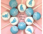 12 Tiny Footprint Cake Pops - for Baby Shower favor, Gender Reveal announcement, new mom, newborn gift, Mom-to-be, 1st birthday, baptism