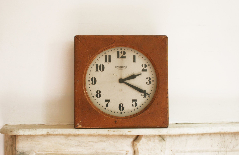 Vintage Hammond Bichronous Wall Clock Large Wood School Post