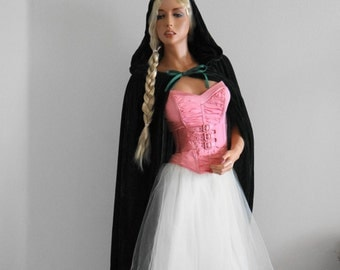Beautiful and Sexy Little  Pink (Red) Riding Hood Costume- Pink Punky Fairy- Pink Princess- Complete Set  Skirt/Corset/Wig/ Hooded Cape