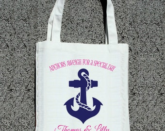 Destination Wedding Anchors Aweigh Away Cruise Tote- Wedding Welcome Tote Bag