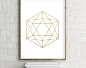 Geometric icosahedron Printable Wall Art Download. Modern contemporary poster (various sizes)