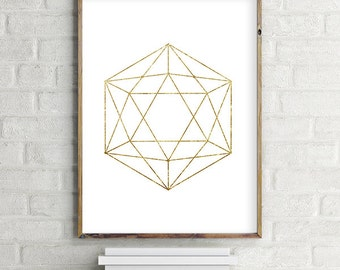 Geometric icosahedron Printable Wall Art Download. Modern contemporary poster (various sizes) Gallery Wall Print