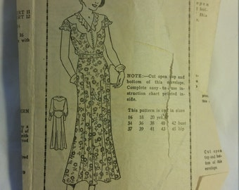 Vintage 1930s dress original sewing pattern - Size 16 - B 34, H 37 - Mail Order 2789