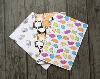 Cat Lover's Patterned Notebook Set - 3 Paperback A5 Notebooks featuring Illustrated Cute Cat Designs