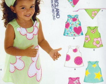 New Look 6578, Girls Size 6 Months to 4 years, Summer Tops, pants, Shorts, Hats and Dress, Uncut