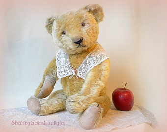 Antique German teddy bear by Eduard Craemer EDUCA 1915 – 1925, made of yellow mohair, 20 inch tall, restored vintage old bear