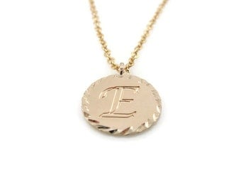 Initial Personalized gold Necklace. diamond cut initial necklace, gold initial necklace, gift for her,  initial pendant, initial jewelry,