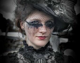 Victorian goth brooch with bat wings, Tim Burton style, Addams Family, Romantic goth