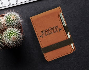Rawhide Leatherette Pocket Notebook, Custom Engraved Notepad Cover, Personalized Office Gift