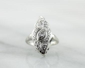 Flashy Diamond Dinner Ring, Art Deco Style, 50's Era Ring  NNT98M-R