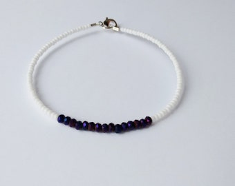 White and purple bracelet,friendship bracelet,minimalist bracelet,dainty bracelet,beaded bracelet,seed bead bracelet,bridesmaid gift,faceted