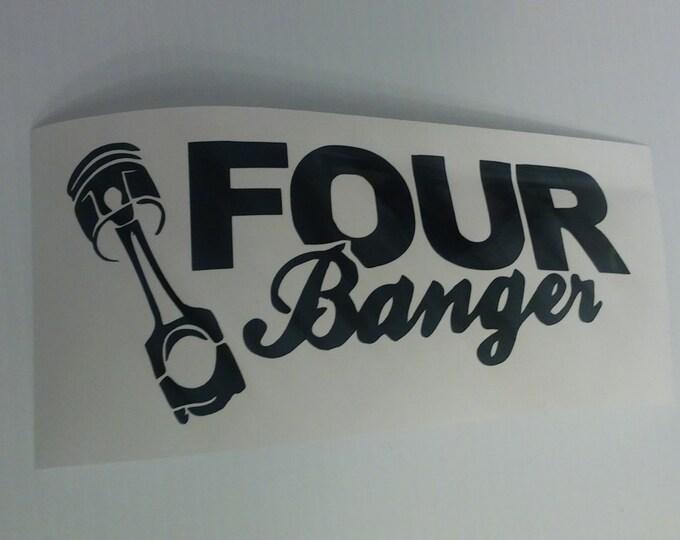 Four Banger Cylinder Piston Car Scene Vinyl Decal