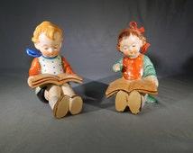 Vintage Porcelain Reading Children Figurines, Bookends, Japan, Circa 1940s, Hummel Copies
