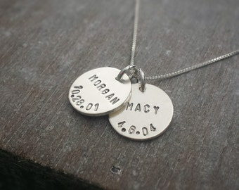 Custom Name and Birthdate Necklace, Personalized Kids Name Necklace, Personalized Necklace, Two Names, Sterling Silver, Necklace for Moms