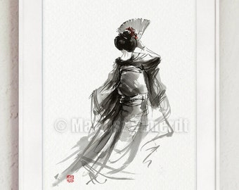 Geisha, geisha dance, geisha portrait, calligraphy poster, maiko, geisha fan, abstract painting.