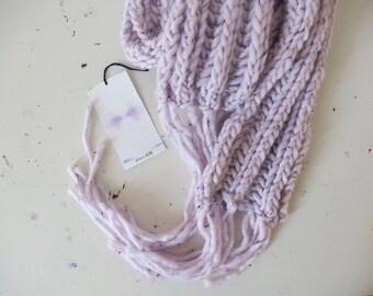 freezing siren }} oversized hand knit scarf // pastel lilac