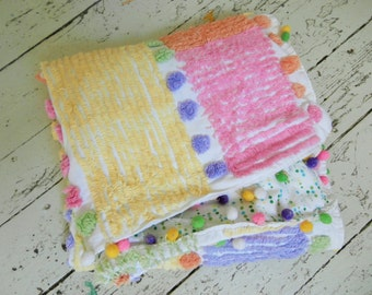 Up-Cycled Vintage Chenille, Small Throw, Pompom Trim, Blanket