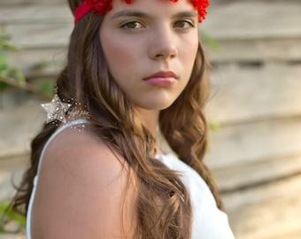 flower crown - Valentine's day headband - girls headband - red rhinestone headband - rhinestone flower headband - red headband