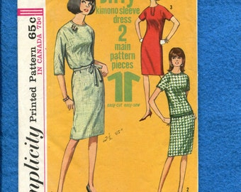1960's Simplicity 6049 Mid Century Kimono Sleeve Shift Dress Size 16