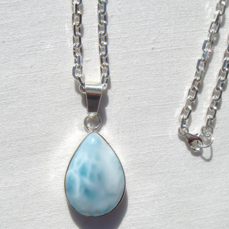 blue larimar pendant necklace larimar pendant sterling