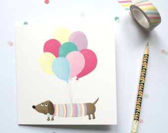 Sausage Dog Birthday Card - Dachshund Birthday Card - Girls Birthday Card - Birthday Card For Her