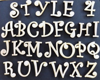 """2"""" or  2 1/4"""" Wood letters and numbers, Style 4,  laser cut numbers or letters for crafts birch plywood"""