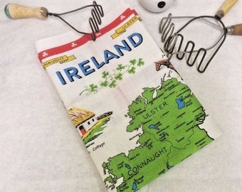 Ireland Pure Irish Linen Tea Towel Nelson Map Connaught Ulster Munster Leinster
