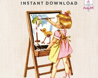 Vintage Painter Girl Clipart