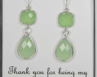 Green/ Peridot Sterling Silver Earrings, Peridot Glass Earrings, Bridesmaid Gift Apple Green Earrings, Mint Green Green Wedding TDS1