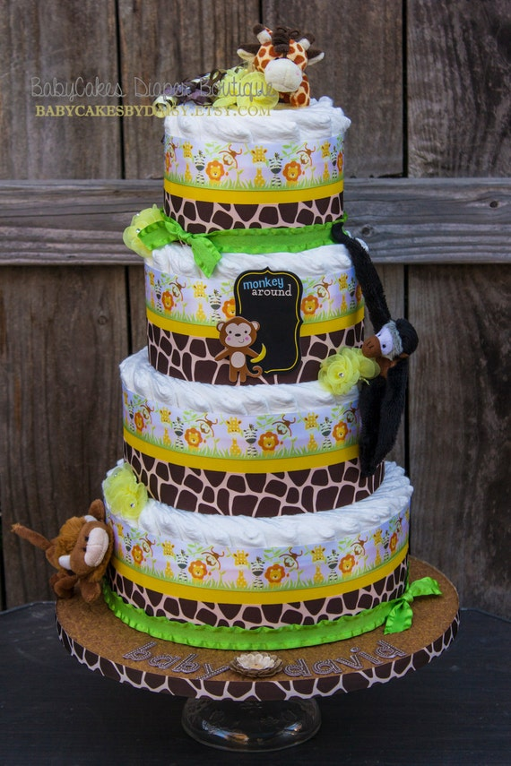 Safari Diaper Cake | Jungle Diaper Cake | Safari Baby Shower | Jungle Baby Shower | Wild Animal Safari Diaper Cake | Baby Cake