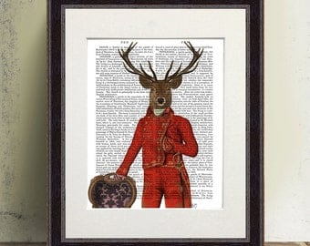Deer Art Red and Gold Jacket home office decor red room decor red wall art anthropomorphic art colorful wall art country home décor cabin
