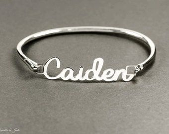 Personalized Sterling Silver Hinged Bangle with Name or Any Word