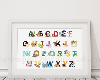 Animal Alphabet Poster, Nursery Wall Art, Playroom Poster, Alphabet Wall Art, Alphabet Nursery Art, Alphabet Nursery - Nursery Art - 22-0027