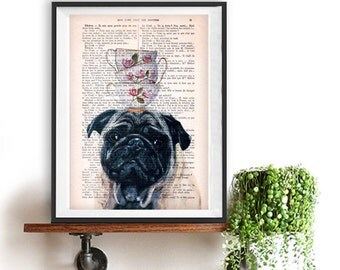 Cool Pug print, Pug art, stacking teacups, Dog Artwork, Pug Art Print, Gift for Him, Red, Office Wall Art, Wall Decor, Home Decor