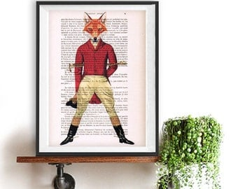 Fox original print, recycled old book page, 1900 print, fox art print, fox illustration, christmas gift idea, red fox print, horse driver