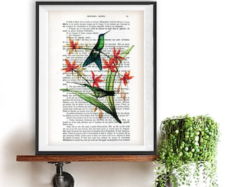 Hummingbird Collage Print on Vintage Dictionary Book altered art dictionary page illustration book print art Christmas gift