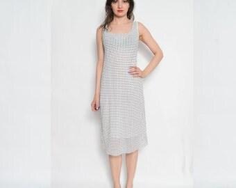 Vintage 80's Polka Dot Sleeveless Dress / White Polka Dot Midi Dress