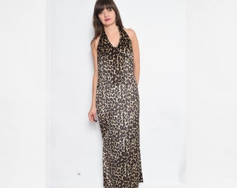 Vintage 90's  Leopard Halter Backless Maxi Dress / Velvet Maxi Dress